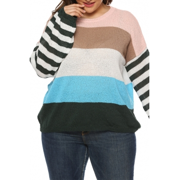 Lovely Casual Striped Blue Plus Size Sweaters