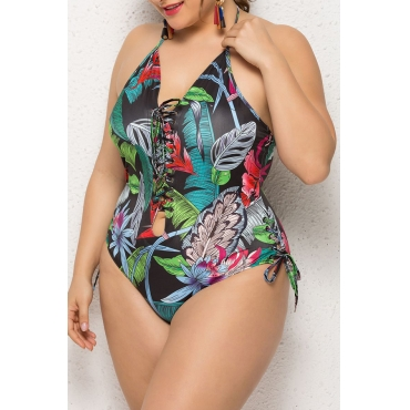 Lovely Backless Printed Multicolor One-piece Swimwear