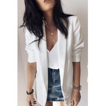 Lovely Casual Lapel White Blazer