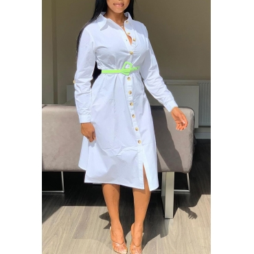 Lovely Sweet Turndown Collar Buttons Design White Mid Calf Dress(Without Belt)