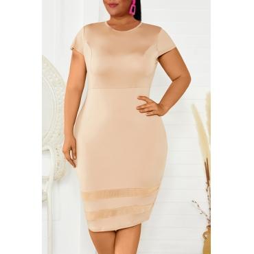 Lovely Casual Patchwork Khaki Knee Length Plus Size Dress