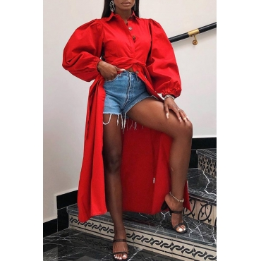 Lovely Chic Button Design Long Red Blouse