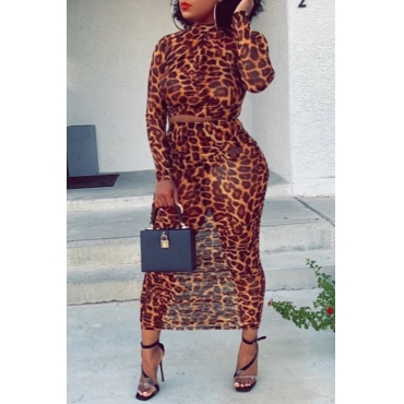 Lovely Trendy Leopard Printed Two-piece Skirt Set