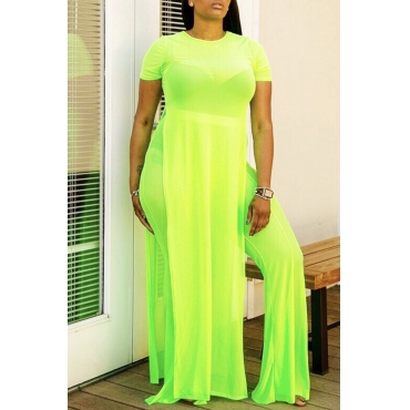 Lovely Casual Asymmetrical Green Two-piece Pants Set