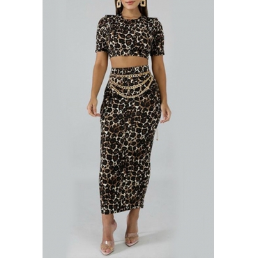 Lovely Casual Leopard Printed Black Two-piece Skirt Set