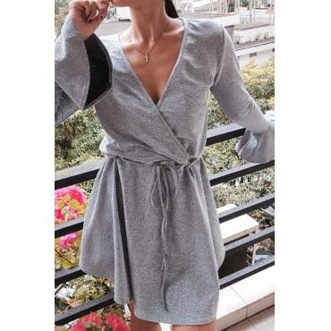 Lovely Sweet V Neck Grey Mini Dress