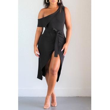 Lovely Trendy Dew Shoulder Slit Black Mid Calf Dress