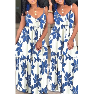 Lovely Casual Spaghetti Straps Printed Blue Ankle Length Dress