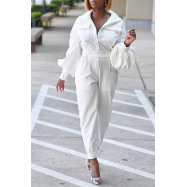 Lovely Trendy Pocket Patched White One-piece Jumpsuit