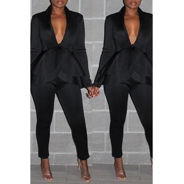 Lovely Work Deep V Neck Layered Black Two-piece Pants Set