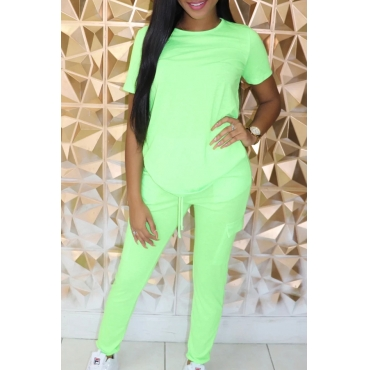 Lovely Casual Basic Green Two-piece Pants Set