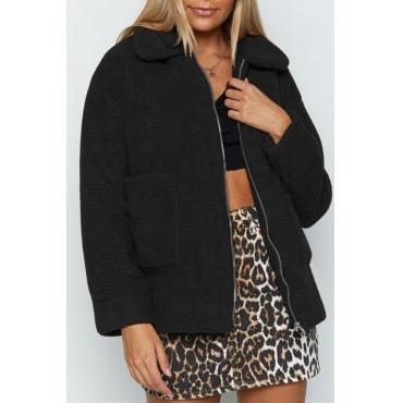 Lovely Casual Pockets Design Black Coat