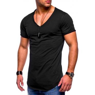 Lovely Casual V Neck Black T-shirt