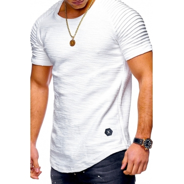 Lovely Casual O Neck Ruffle Design White T-shirt
