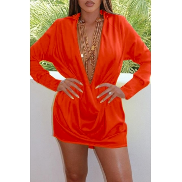 Lovely Sexy Turndown Collar Deep V Neck Jacinth Mini Dress