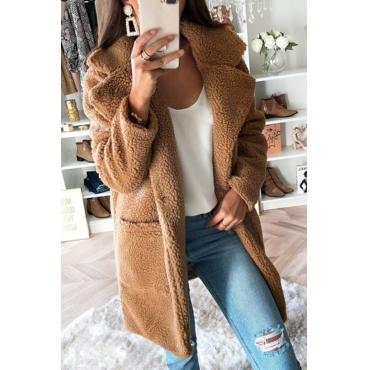 Lovely Trendy Pockets Design Brown Coat