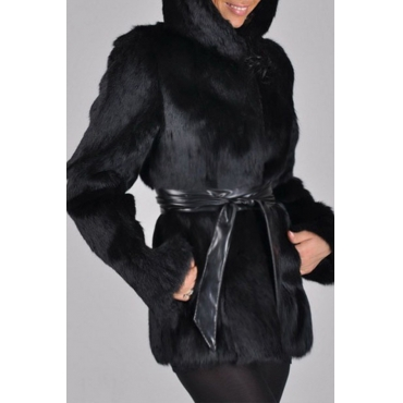 Lovely Trendy Winter Lace-up Black Coat