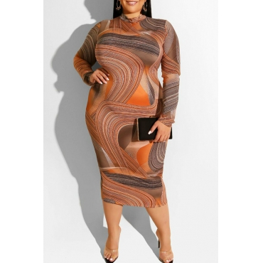 Lovely Casual O Neck Printed Khaki Mid Calf Plus Size Dress