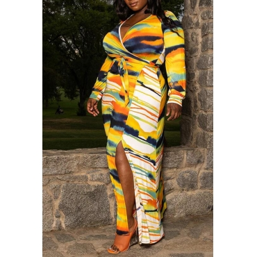 Lovely Casual V Neck Printed Yellow Ankle Length Plus Size Dress