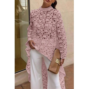Lovely Work Hollow-out Light Pink Blouse