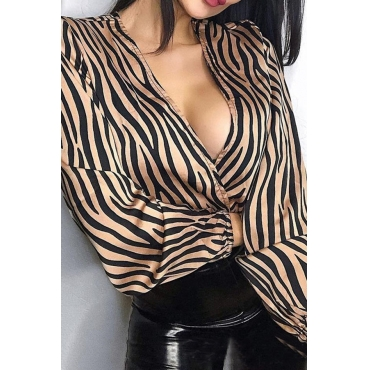 Lovely Work Deep V Neck Striped Brown Blouse