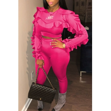 Lovely Sweet Flounce Design Rose Red Two-piece Pants Set