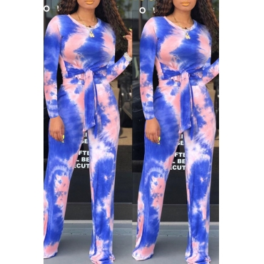 Lovely Trendy Knot Design Deep Blue Two-piece Pants Set