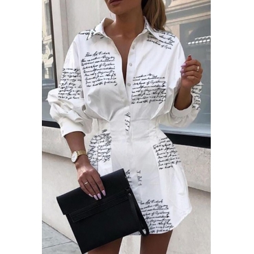 Lovely Work Turndown Collar White Mini Dress