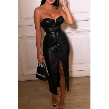 Lovely Sexy Sleeveless Strapless Black Ankle Length Dress