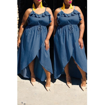 Lovely Casual Sleeveless Flounce Design Blue Knee Length Plus Size Dress