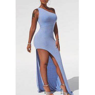 Lovely Trendy One Shoulder Asymmetrical Blue Floor Length Dress