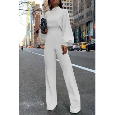 Lovely Casual Puff Sleeves White One-piece Jumpsuit