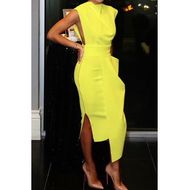 Lovely Party Tank Sleeveless Yellow Ankle Length Prom Dress