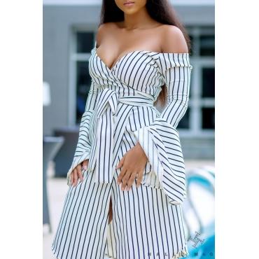 Lovely Chic Dew Shoulder Striped White Knee Length Dress