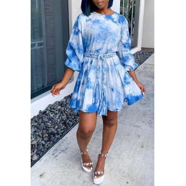 Lovely Casual Ruffle Tie-dye Blue Mini Dress
