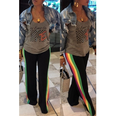 Lovely Leisure Rainbow Striped Black Pants
