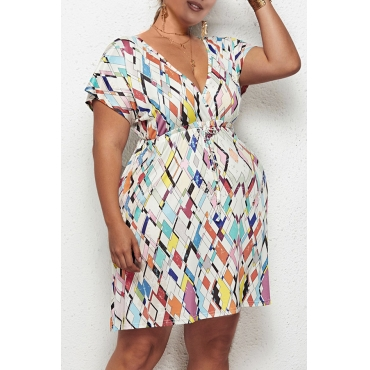 Lovely Casual Geometric Printed White Knee Length Plus Size Dress