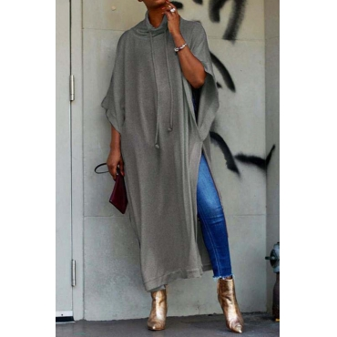 Lovely Work Side Slit Grey Blouse