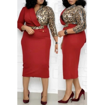 Lovely Casual Patchwork Printed Red Mid Calf Plus Size Dress