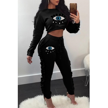 Lovely Casual Flounce Patchwork Black Two-piece Pants Set