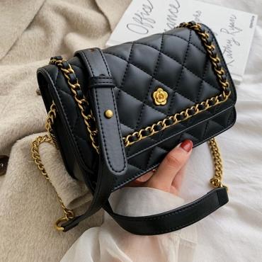 Lovely Retro Chain Strap Black Crossbody Bag
