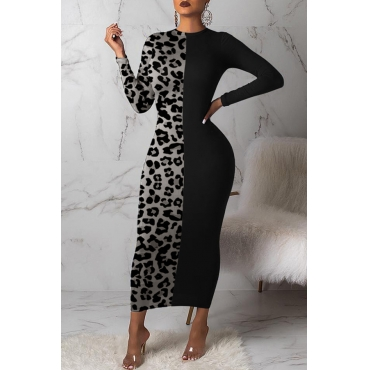 Lovely Casual Leopard Printed Grey Ankle Length Dress