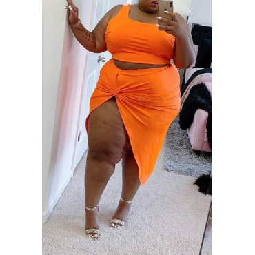 Lovely Casual Sleeveless Asymmetrical Orange Plus Size Two-piece Skirt Set