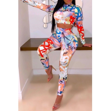 Lovely Street Printed Multicolor Two-piece Pants Set