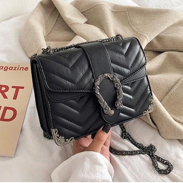 Lovely Casual Patchwork Black PU Messenger Bag
