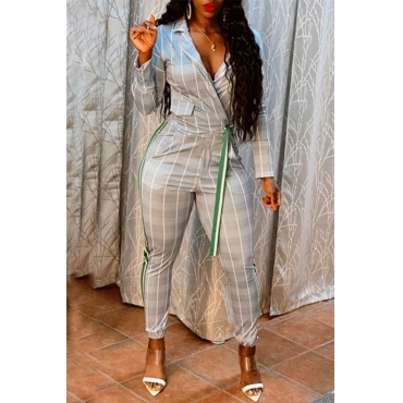 Lovely Casual Turndown Collar Plaid Printed Grey Two-piece Pants Set
