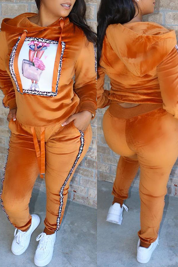 Lovely Casual Hooded Collar Orange Two-piece Pants Set