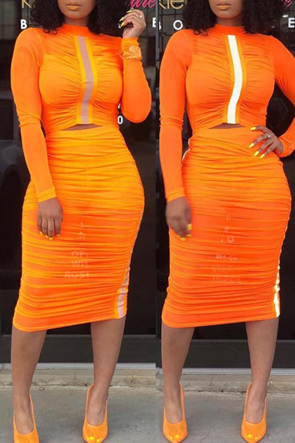 Lovely Casual Half A Turtleneck Orange Two-piece Skirt Set