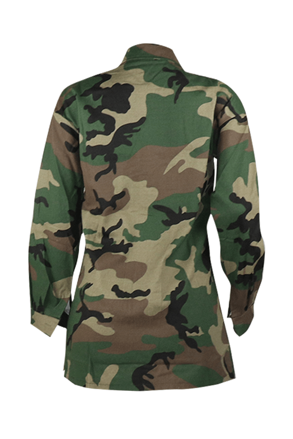 Lovely Casual Sequined Decorative Camouflage Printed Coat