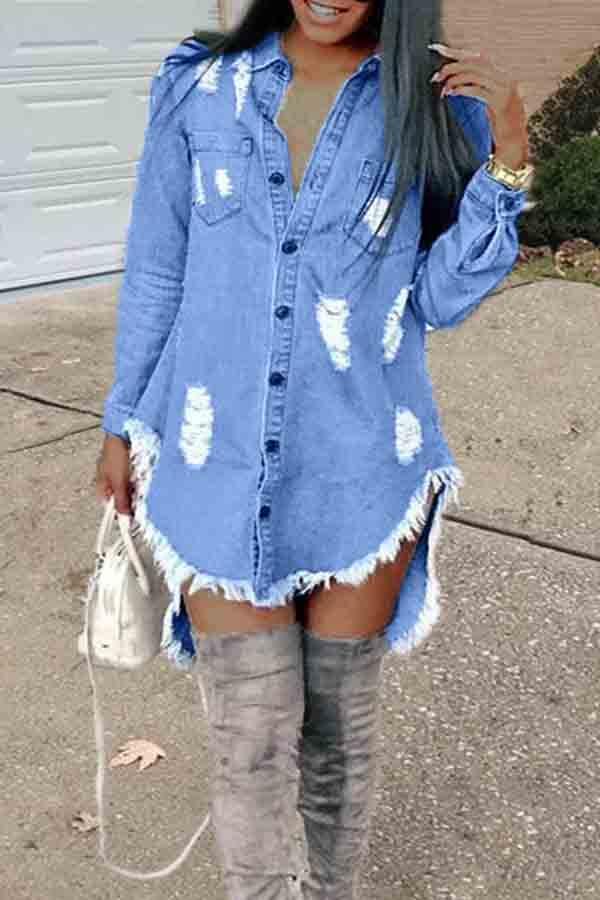 Lovely Casual Turndown Collar Tassel Design Blue Mini Dress